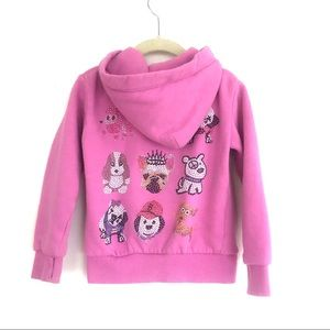 Butter Bejeweled Puppy Dog Thumb Hole Hooded Zippy